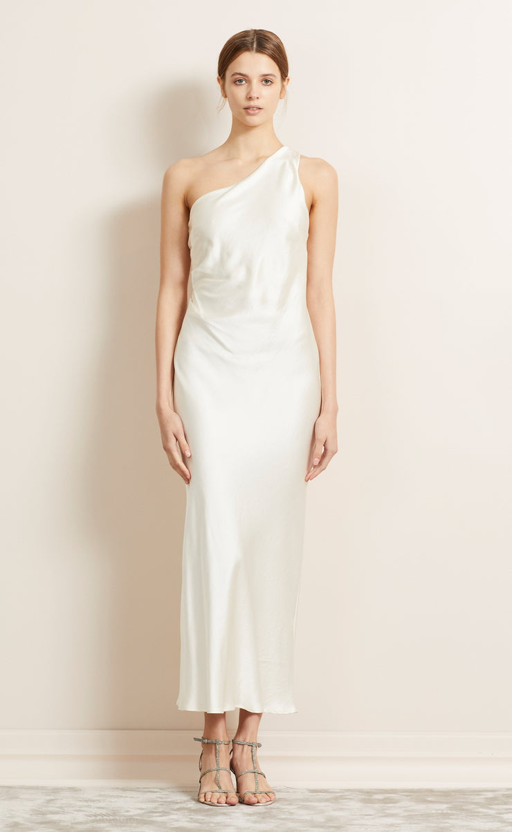 THE DREAMER ASYM MIDI DRESS - IVORY