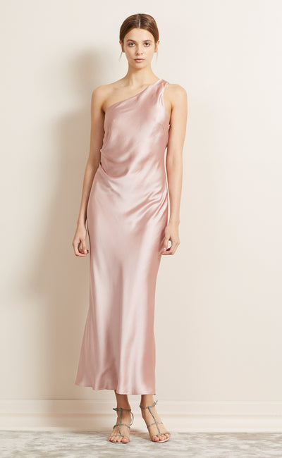 THE DREAMER ASYM MIDI DRESS - BLUSH