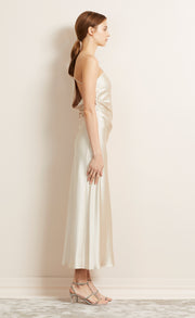 THE DREAMER ASYM MIDI DRESS - SAND