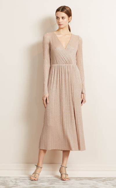 LADY SPARKLE L/S MIDI DRESS - ROSE GOLD