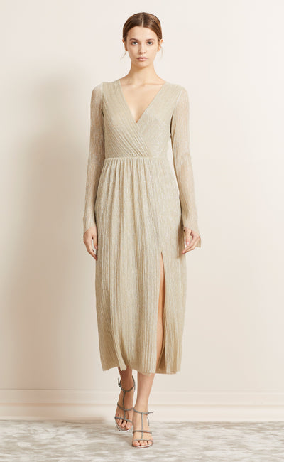 LADY SPARKLE L/S MIDI DRESS - GOLD