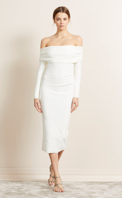 BE MINE L/S OFF SHOULDER DRESS - IVORY