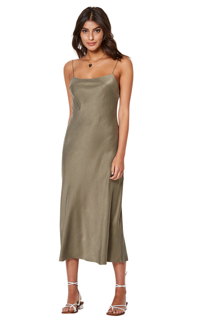 GIRL TALK SLIP DRESS - KHAKI