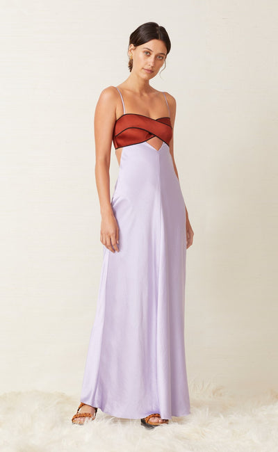 SATIN MAXI DRESS - LILAC/RUST