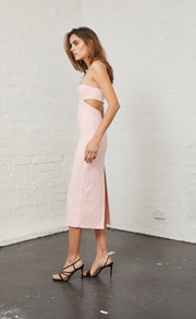 ELLE CUT OUT MIDI DRESS - LIGHT BLUSH