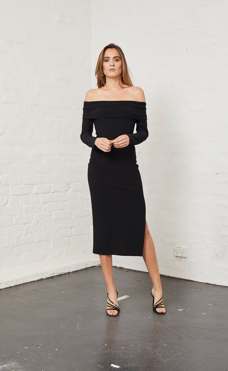 ELLE OFF SHOULDER DRESS - BLACK