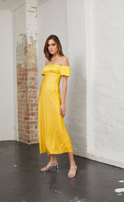 HONEY HONEY PLEAT DRESS - MARIGOLD