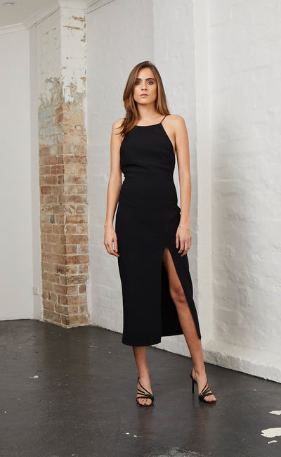 MARGAUX LOW BACK DRESS - BLACK