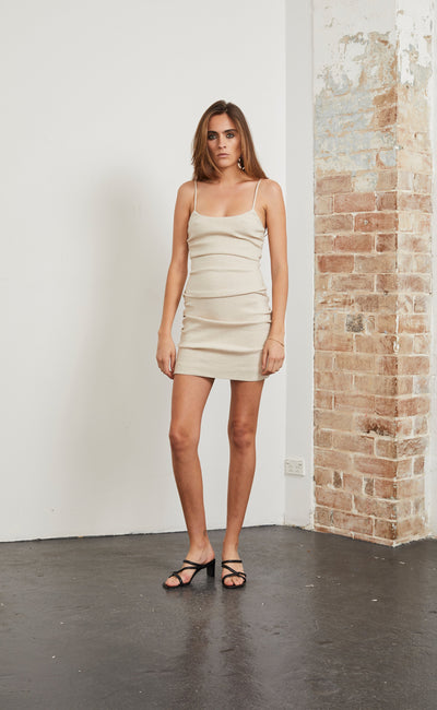 HEY BABY MINI DRESS - STONE