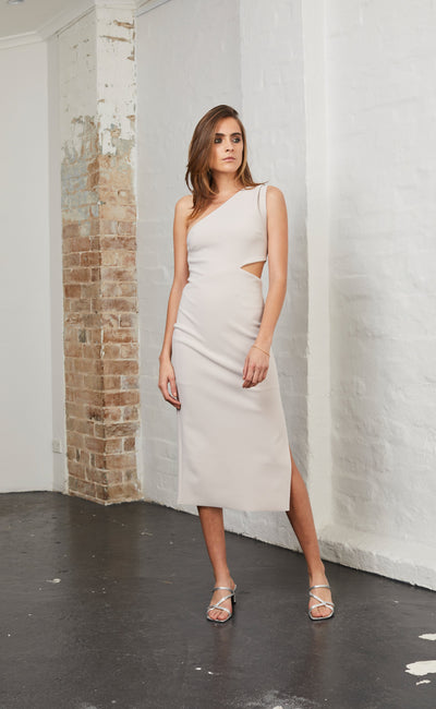 ALESSANDRA ASYM DRESS - NUDE