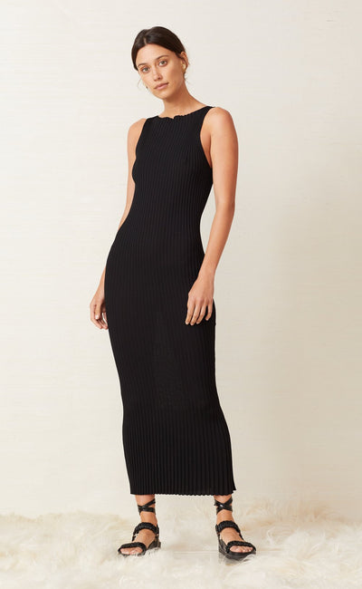 WHITE WATER MIDI DRESS - BLACK