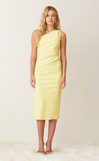 GEMMA ASYM MIDI DRESS - BANANA