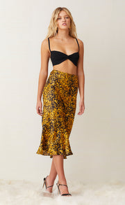 TURTLE ROCK MIDI SKIRT - TORTOISE PRINT