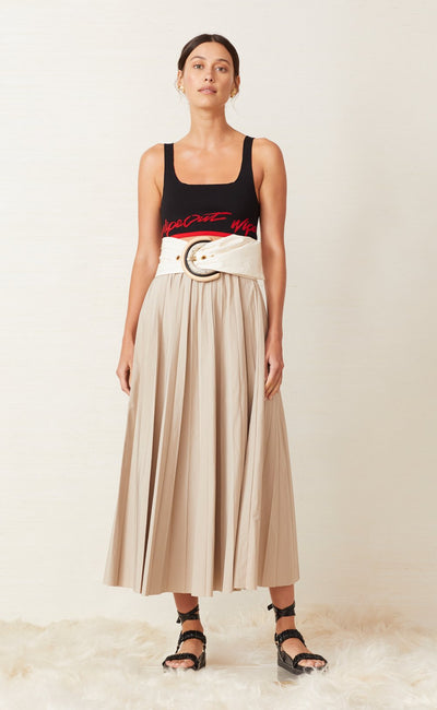 SURFARI PLEATED SKIRT - SAFARI