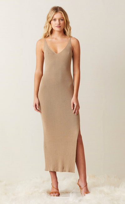 SANDY MIDI KNIT DRESS - BEIGE