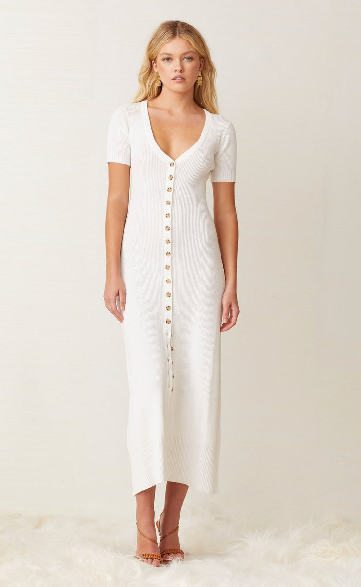 SANDY BUTTON UP MIDI  - IVORY