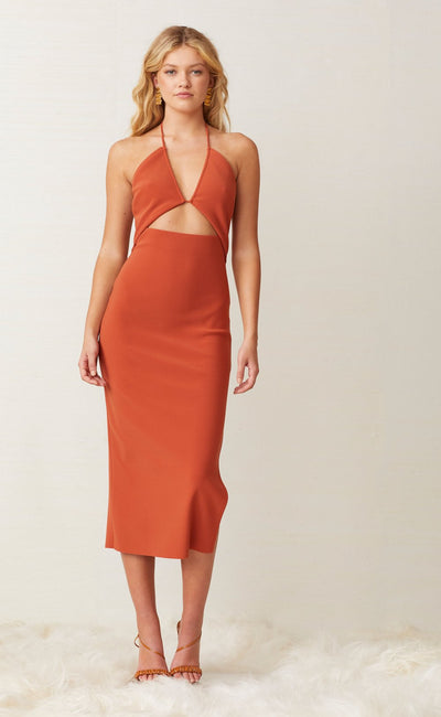 RUBY MIDI DRESS - RUST