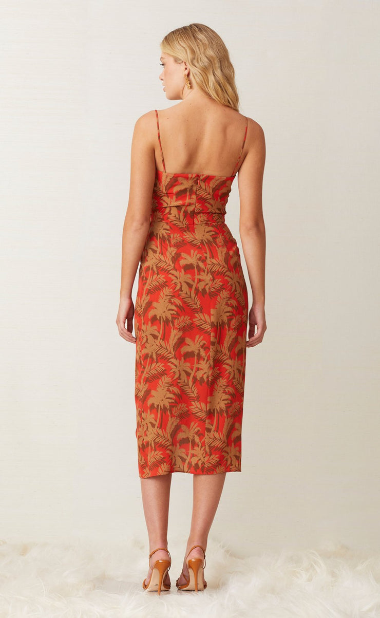 SHADY PALM MIDI DRESS - RED PALM