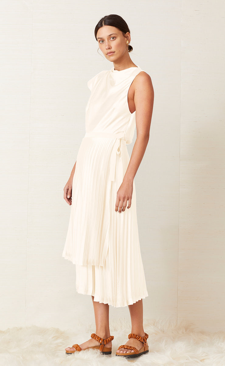top fashion in stock new lifestyle PIPER PLEATED MIDI SKIRT - IVORY -