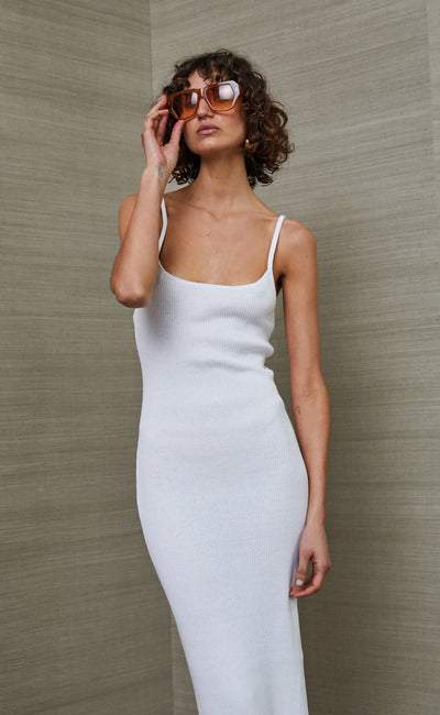 RIVIERA SPLIT MIDI DRESS - IVORY