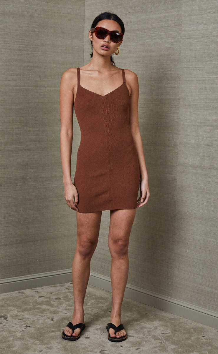 EDEN MINI DRESS - CHOCOLATE