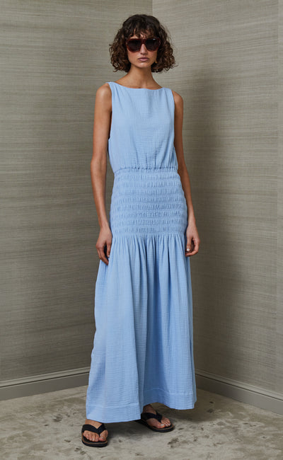 SKYE DREAMER HIGH NECK MAXI DRESS - SKY BLUE