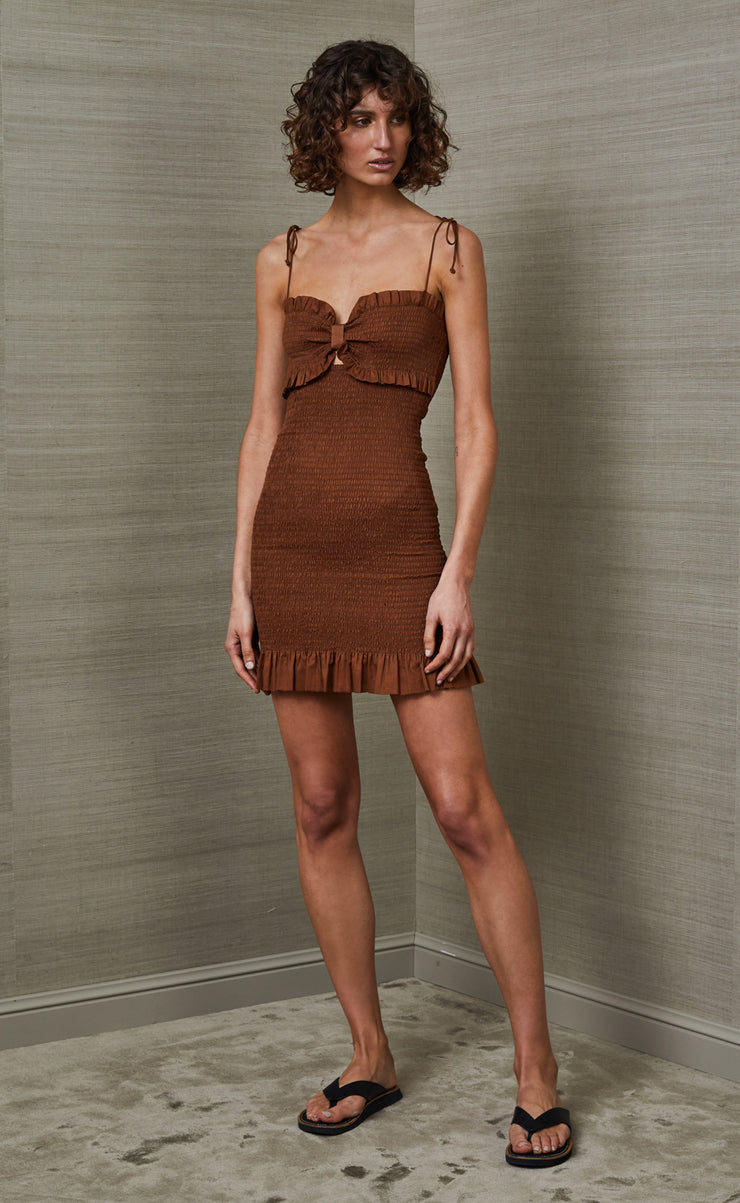 CARRIE MINI DRESS - TOFFEE