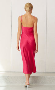 CLASSIC MIDI DRESS - HOT PINK