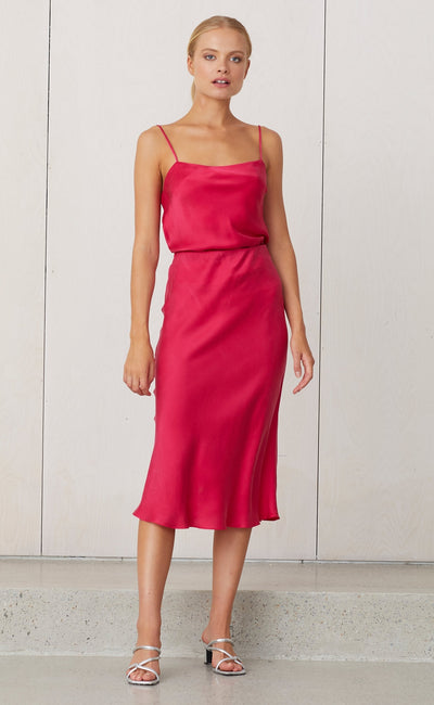 CLASSIC MIDI SKIRT - HOT PINK