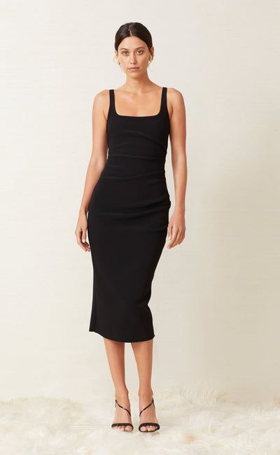 KARINA TUCK MIDI DRESS - BLACK