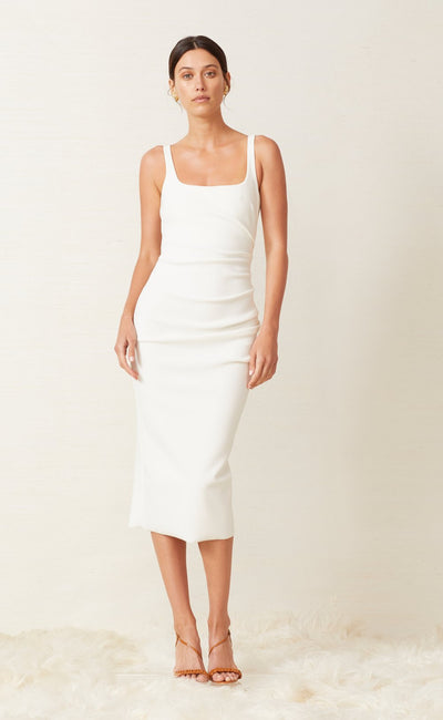 KARINA TUCK MIDI DRESS - IVORY