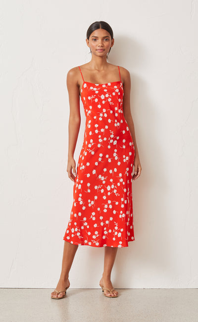 WHITE DAISY SLIP DRESS - RED FLORAL