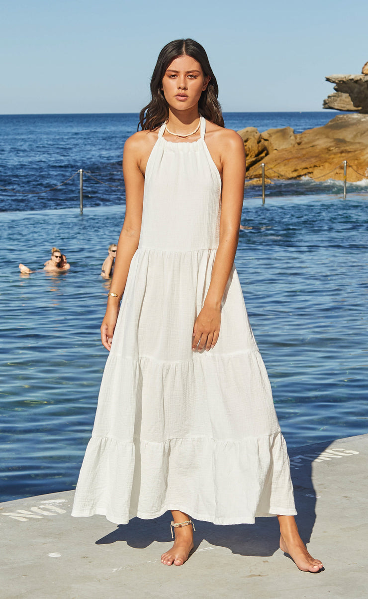 HAKU HALTER DRESS - IVORY
