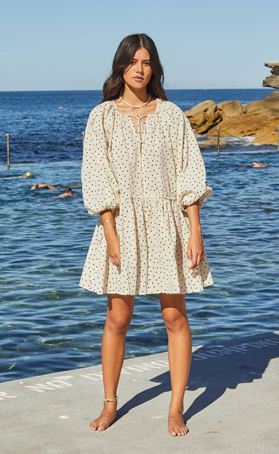 PARADISE BAY MINI DRESS - CREAM BASED SPOT