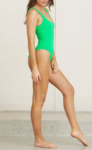 VELVET TEDDY ONE PIECE - APPLE GREEN