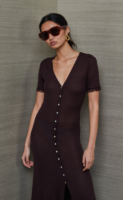 SUSANNAH SHORT SLEEVE MIDI DRESS - CHOCOLATE