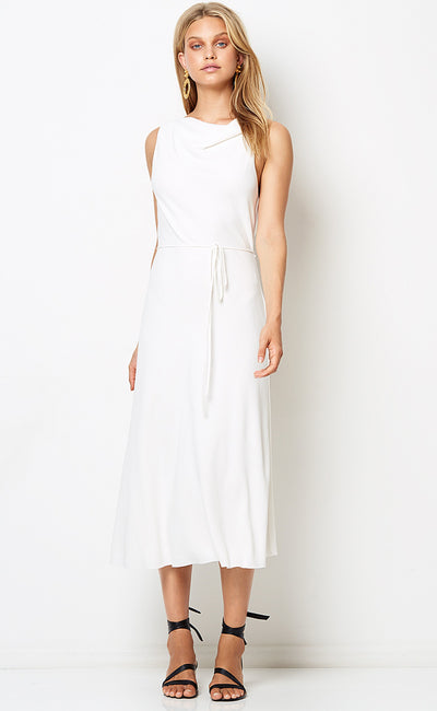 AMALIA COWL MIDI DRESS - IVORY