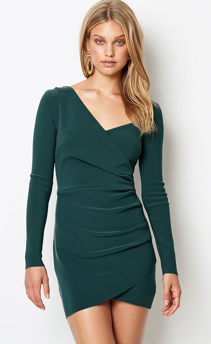 TASHA L/S MINI DRESS  - EMERALD