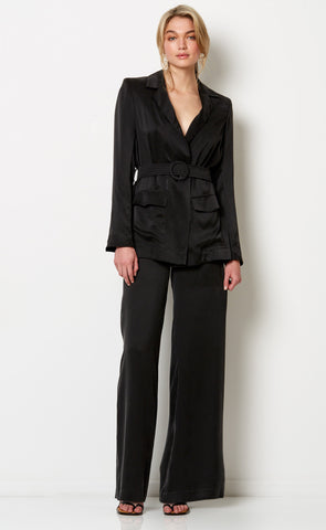 LUCIA BELTED JACKET - BLACK