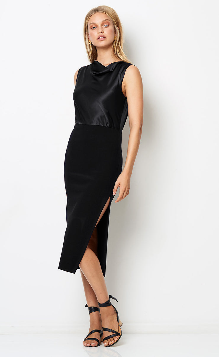 NATALIA COWL DRESS - BLACK