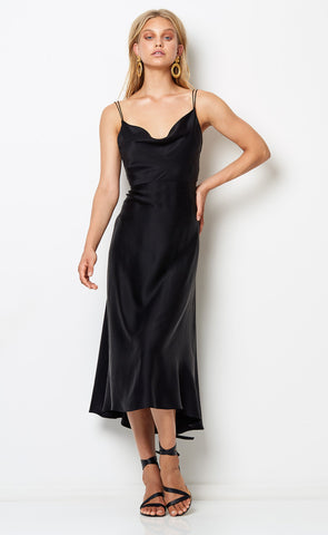 VIDA COWL MIDI DRESS - BLACK