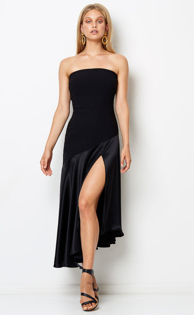 NATALIA STRAPLESS DRESS - BLACK