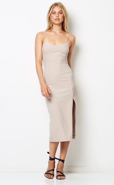 DIONNE MIDI DRESS - TAN CHECK