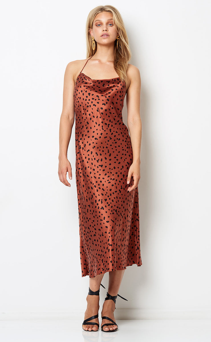 WILD CAT HALTER DRESS - ANIMAL PRINT