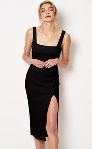 HIBISCUS ISLANDS MIDI DRESS - BLACK