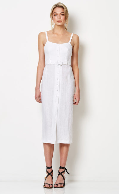 SILVER PALMS MIDI DRESS - WHITE