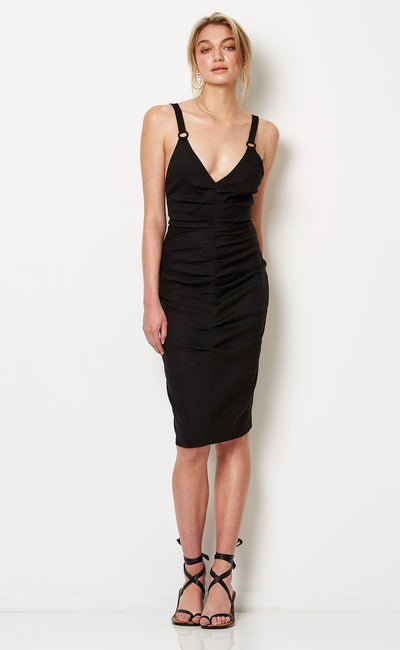 SOUTH BEACH MIDI DRESS - BLACK