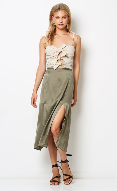 VIDA SPLIT SKIRT - KHAKI