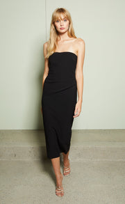 ELKE STRAPLESS MIDI DRESS - BLACK