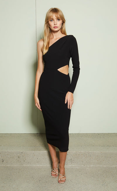ELKE ASYM MIDI DRESS - BLACK